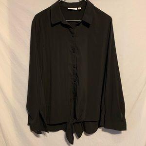 Susan graver 12 poly button down shirt front tie